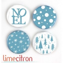 Limecitron Badges Noël bleu