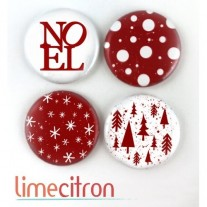 Limecitron Badges Noël rouge