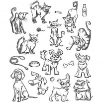 Tim Holtz Étampe Mini Cats & Dogs