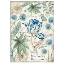 Stamperia Papier de Riz Tulipe Bleue