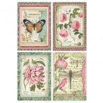 Stamperia Papier de Riz Cartes Fleurs Botaniques