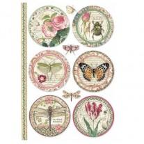 Stamperia Papier de Riz Ronds Botaniques