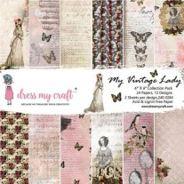 "Dress My Crafts Pad 6"" X 6"" Ma dame vintage"