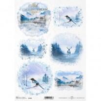 ITD Collection Papier de Riz Montagnes en bleu