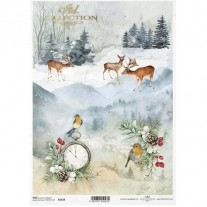 ITD Collection Papier de Riz Chevreuils & Oiseaux