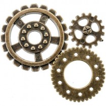 Steampunk Buttons Engrenages or antique