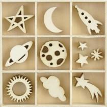 Découpes en bois Lune & Étoiles