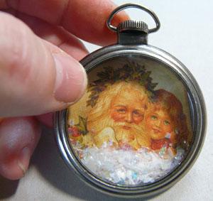 montre de poche Tim holtz carte de noel