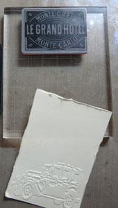 étampe travel labels de Tim holtz : Le grand hôtel
