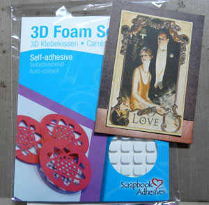 adhésif 3D pour donner de la dimention au projet de scrapbooking