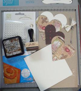 carte scrapbooking St Valentin matériel