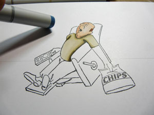 Art Impression Lazy Boy et Copic Sketch
