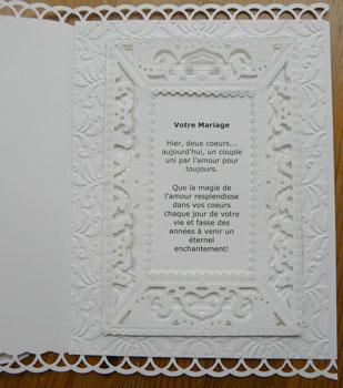 carte de scrapbooking pour mariage intérieur de carte