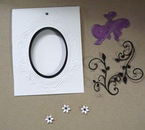 montage carte de scrapbooking et fleurs