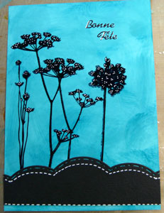 carte de souhaits Alcohol ink et Étampe Wildflowers